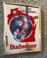 RARE BUD MAN BUDWEISER BEER BUDMAN MIRROR Wisconsin FLYING SIGN