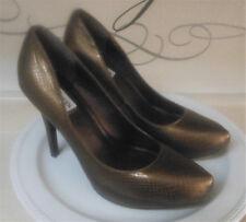 NEW STEVE MADDEN Women's Heels Gold Snakeskin Pattern 4.5 Stilettos Size 8.5 M
