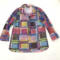 John Mark Sz L Large Women's Button Down Swing Top Multicolor Sheer Long Sleeve