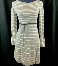 Boden Women's Size 6 Gray Striped Sweater Dress Cashmere Angora Blend