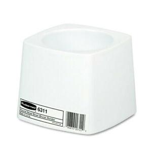 Rubbermaid 6311 white toilet bowl brush holder white plastic base 5 inches diame
