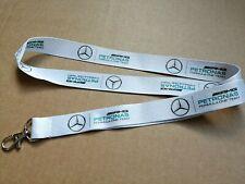 f1 formula 1 white lanyard neck strap ID holder key fob Mercedes Benz petronas