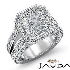 Halo Pave Set Princess Diamond Engagement Ring GIA F VS2 18k White Gold 4.02ct