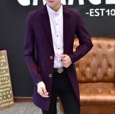 Slim Fit Men's Formal Dress Prom Lapel Collar Trench Long Coat Blazers Jacket
