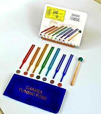 Seven Chakra Tuning Fork Color Therapy Energy Healing In Box With Velvet Pouch