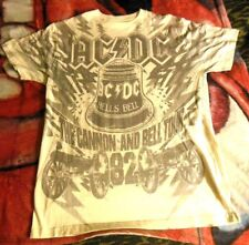 AC/DC Rockware Retro Look The Cannon And Bell Tour '82 T-Shirt MEDIUM off-white