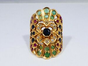 MAGNIFICENT 18K GOLD DIAMOND, RUBY, EMERALD AND SAPPHIRE EGYPTIAN REVIVAL RING