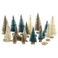24Pcs Mini Christmas Tree Decor Cedar Ornaments Desktop Trees Party Miniature