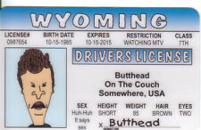 BUTTHEAD  Beavis & Butthead Show novelty plastic collectors card Drivers License