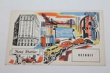 VINTAGE 1930'S HOTEL STATLER DETROIT, MICHIGAN POSTCARD  (auto theme)