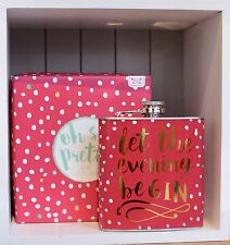 """Boxed Metal """"Let the Evening BeGin"""" Hip Flask - Gift Festivals Bridesmaids Pink"""
