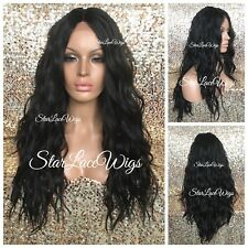 Lace Front Wig Long Wavy Middle Part Layers Dark Brown #2 Swiss Lace Heat Safe