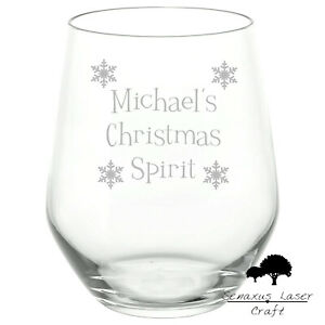 Personalised Engraved Stemless Glass Comedy Christmas spirit glass SWG94