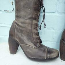 ALLSAINTS Leather Ankle Boots Uk 4 Eur 37 Womens Lace up Distressed Brown Boots