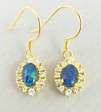 Genuine Triplet Opal Dangle Hook Earrings 18ct Gold Plated w Cubic Zirconias
