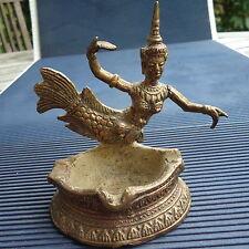 Sirène Cendrier Vide Poche Bronze Doré Artisanat Cambodge 11 x8,5x7,5 Cm 385 Grs