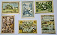 REHMEN Gemeinde Notgeld 2x 25, 4x 50 Pf, 1921 A,B,C,D,E,F. Komplette Serie (3560