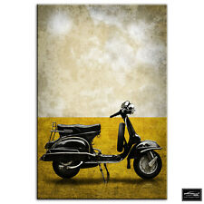 Vintage Scooter   Transportation BOX FRAMED CANVAS ART Picture HDR 280gsm