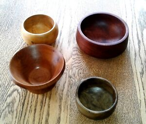 Hand Turned Wooden Bowls x 4 - Spalted Beech - Cherry - Mahogany - Lignum Vitae