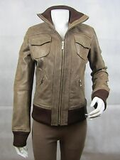 Ladies Brown Old Look Napa Leather Slim Tight Fitted Short Biker Jacket Bike