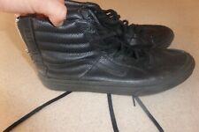 Vans Black Leather  Back Zipper Shoes Mens 8 D Womens 9.5 M