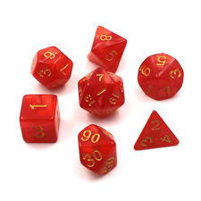 7pcs/lot Dice Marble DUNGEON and DRAGONS rpg Dice Game d4 d6 d8 d10 d10 d12 Red