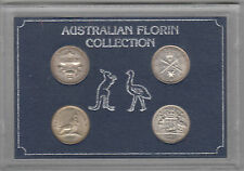Coins Australia silver florin type set of 4 encapsulated inc Parliament House