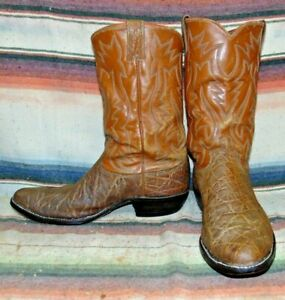 Mens Vintage Justin Brown African Hide Cowboy Boots 12 D Good Condition
