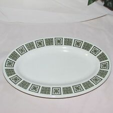 VINTAGE MADDOCK OVAL PLATTER GREEN FLORAL PANEL HOTELWARE RESTAURANT WARE EMPIRE