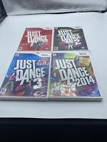 Just Dance 1, 2, 3, and 2014 Lot of Four (4) Games Bundle Nintendo Wii Tested