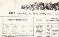 États de Services du Maréchal SOULT Napoléon Bonaparte duc de DALMATIE