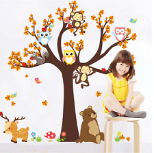 Jungle Safari Animal Tree Monkey Owl Wall Stickers Decal Kids Room uk