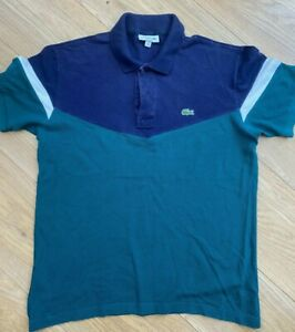 LACOSTE CLASSIC FIT Polo shirt Navy & green   Size 4 / MEDIUM