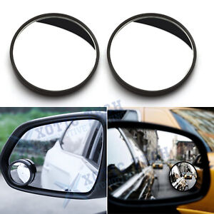 2x Round Framed Stick On Rear-View Wide Angle Convex Glass Blind Spot Mirrors