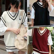 Women Knit Vest Sweater Jumper Pullover Student V Neck Tops Knitwear Casual