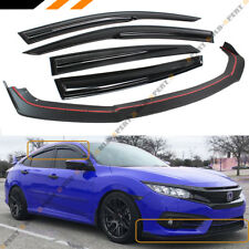 FOR 2016-18 HONDA CIVIC 4DR FRONT BUMPER LIP SPLITTER + WINDOW VISOR RAIN GUARD
