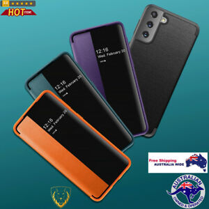 Magnetic Side Window View Shockproof Horizontal Flip Leather Case For Samsung