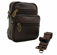 Brown Leather Travel Fanny Pouch Cross Body Purse Hip Passport Bag Waist JTC