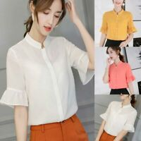 Shirt T-Shirt Top Ladies Short Sleeve Loose Chiffon Fashion Summer Blouse Women