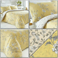 Ochre Yellow Duvet Cover Pretty Delicate Floral Trail Reversible Quilt Cover Set