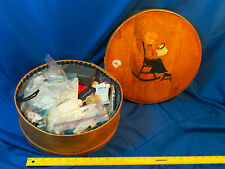 Antique Wi Cheese Hat Box Hand Painted Sewing Notions Rocker Vtg Primitive Folk