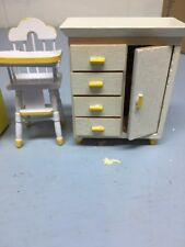 Miniature House Doll Furniture High Chair And Dresser 897 & 898