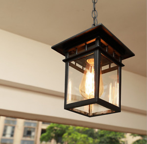 Outdoor Hanging Lantern Chandelier With Clear Seeded Glass Rustic Bronze Fixture