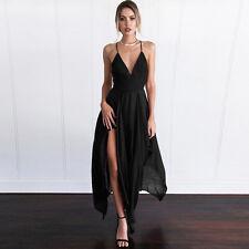 Summer Women Maxi Long Party Casual Beach Dress Sleeveless Sexy-V Cocktail Dress