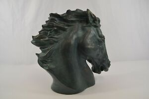 "Austin Sculpture Flaming Mane Horse Head by James Spratt 1978 Bronze Finish 12"""