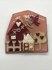 House Pins By Lucinda Brooch Love Cupid Hearts Glitter Red Pink