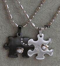 doppio Puzzle Acciaio-Stainless Steel-Coppia Ciondoli collana uomo e donna nero