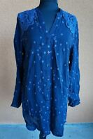 NEW Johnny Was Rayon Crochet Embroidrd Buttn Down Tunic Top Shirt Blouse Dress S
