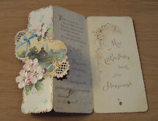 """Antique VICTORIAN 1890's """"CHRISTMAS CARD""""~German/Berlin Made~"""