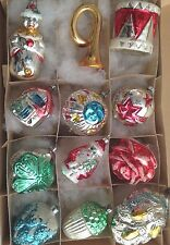 Collection Old Antique Xmas Ornaments Glass Embossed Painted Figural German 1940